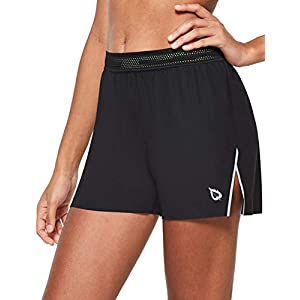 BALEAF Women's 3″ Athletic Running Shorts Quick-Dry Workout Split Shorts with Liner Zipper Pocket