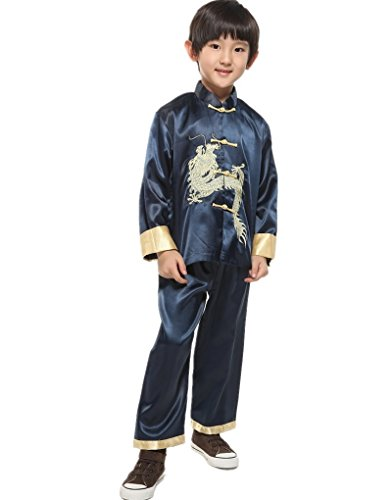 Shanghai Story Traditional Chinese Boy Dragon Kung Fu Outfit Tang Costume 6 Blue