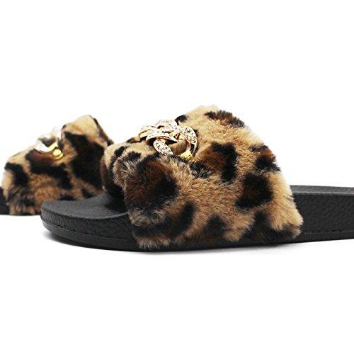 Meeshine Vrouwen Faux Fur Zachte Slipper Huis Indoor Platte Dias Slip Op Schoenen Cheetah