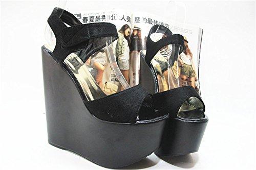 XiaoGao Sandalias y sandalias verano sandalias de 17 cm de espesor,El negro
