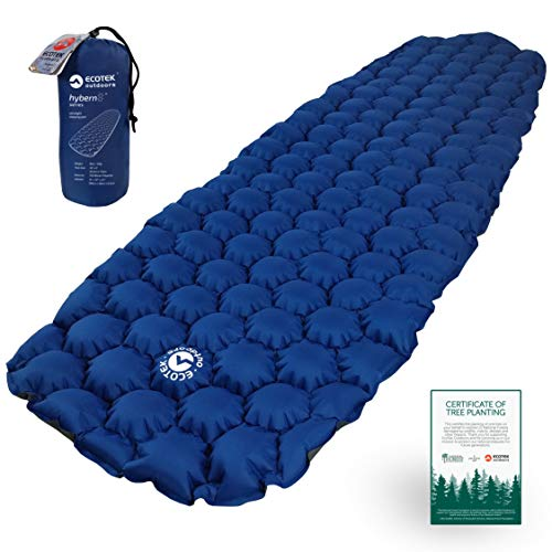 ECOTEK Outdoors Hybern8 Ultralight Inflatable Sleeping Pad Air Mattress for Hiking, Backpacking, Camping, Travel – Lightweight Portable Gear for Your Sleeping Bag, Bivy, Hammock, Cot, Mat, Tent
