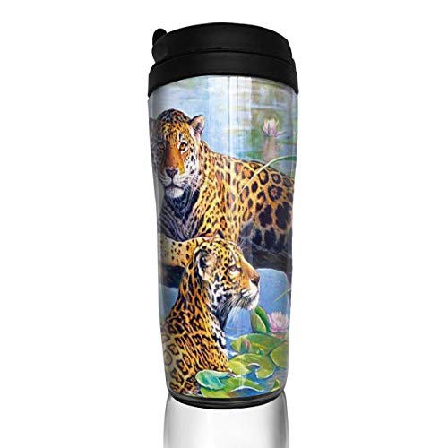 Bei Tang Coffee Cup Jungle Paradise Leopards Travel Tumbler Insulated Leak Proof Drink Containers Holder Amazing 12 Ounces