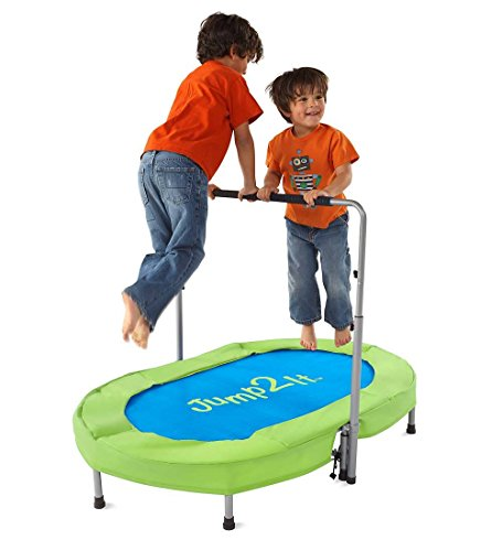 - Jump2It Kids Portable 2 Person Mini Trampoline with Adjustable Central Handle and Protective Frame Cover