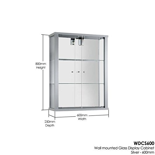 Silver Wall Mounted Glass Display Cabinet with Lighting: Amazon.co ...