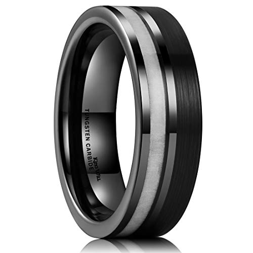 King Will Nature Black Tungsten Carbide Wedding Band 7mm Brushed Ring with Antlers Inlay Comfort Fit 7