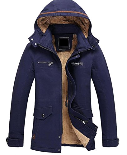 Men's Casual Trench Jacket Gocgt Thicken Down Blue Hooded Winter Coats Ad5qwfZ