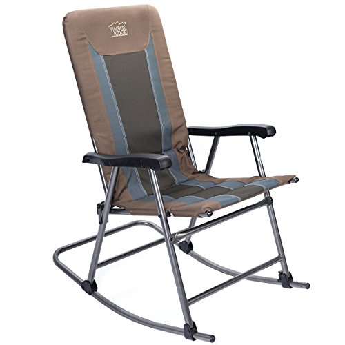 Timber Ridge Rocking Chair Folding Padded Patio Lawn Reclining Camping with Armrest, Side Storage Bag, Supports 300lbs