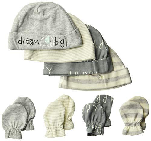 Gerber Baby 8-Piece Organic Cap and Mitten Set, happy elephant, Newborn