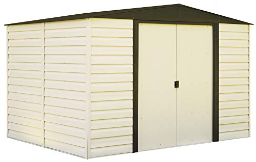 Arrow Shed VD108-A Arrow Low Gable Steel Storage, Coffee/Almond, 10 x 8 ft. 10X8 Dallas Vinyl Shed, Walls/Roof/Doors & Coffee Trim