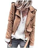 Abetteric Womens Short Style Faux Leather Full-Zip Polo Long-Sleeve Jackets Blouses Khaki L