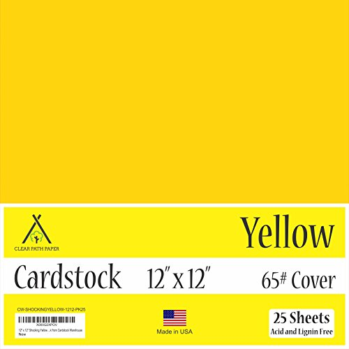 Yellow Cardstock - 12 x 12 inch - 65Lb Cover - 25 Sheets by Clear Path Paper