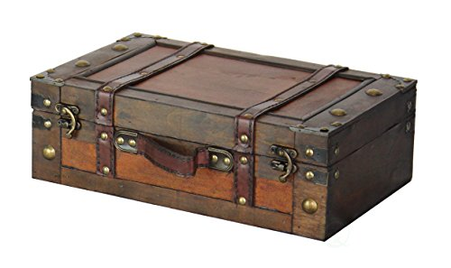 Vintiquewise Old Style Suitcase With Straps, (Antique Leather Trunk)