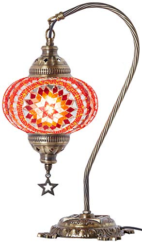 - (33 Colors) DEMMEX 2019 Turkish Moroccan Mosaic Table Lamp with US Plug & Socket, Swan Neck Handmade Desk Bedside Table Night Lamp Decorative Tiffany Lamp Light, Antique Color Body Red (18)