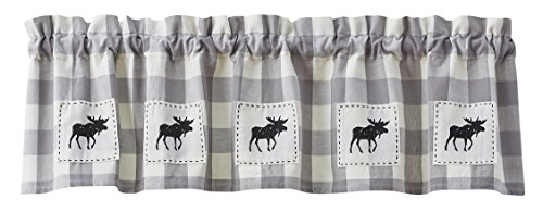 Silver Creek Cabin - Wicklow Gray & White Check Moose Patch Lined Valance, 60W x 14L