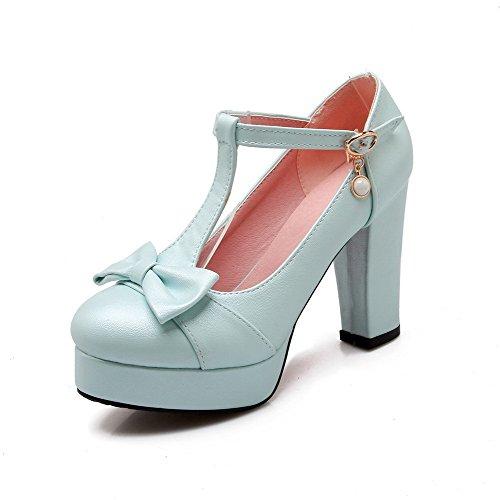 AllhqFashion Damen Rund Zehe Schnalle PU Rein Hoher Absatz Pumps Schuhe Blau