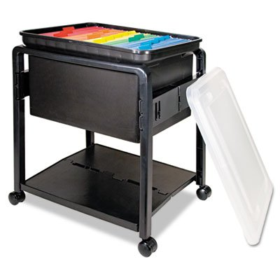 Folding Mobile File Cart, 14-1/2w x 18-1/2d x 21-3/4h, Clear/Black, Sold as 1 Each by Advantus