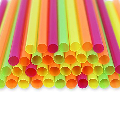Jumbo Straws Assorted Colors Extra Wide for Smoothie Milkshake Slushies Boba Bubble Tea Frozen Cocktails Drinks - Disposable Party Straws - 50 Pieces