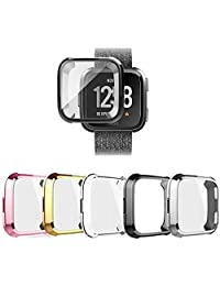 5 Colors Compatible with Fitbit Versa Screen Protective Case,FOLOME Scratch-Resistant Soft Flexible TPU Plated All-Around Protective case Protector for Fitbit Versa Watch (5 Pack