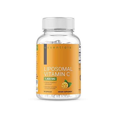 Essentials Liposomal Vitamin C 1400mg, 90 Capsules – High Absorption Ascorbic Acid, Immune System Support, Collagen Booster, Powerful Fat Soluble Antioxidant Supplement, Non-GMO