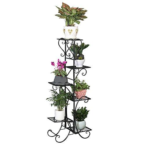 6 Tier Metal Plant Flower Stand Decorative Rack Bookrack Storage Shelves For Indoor Decorations