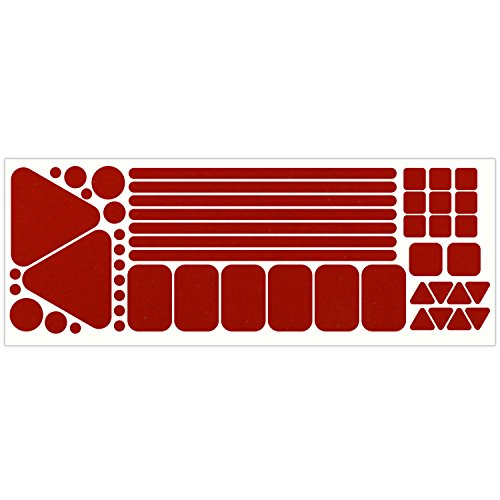 LiteMark Reflective Red Variety Pack of Sticker Decals for Helmets, Bicycles, Strollers, Wheelchairs and More - 51 Total (Assorted Shapes and Sizes)