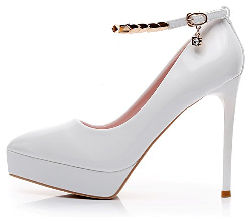 Pointed Toe High Heels Shoes (White) - 8