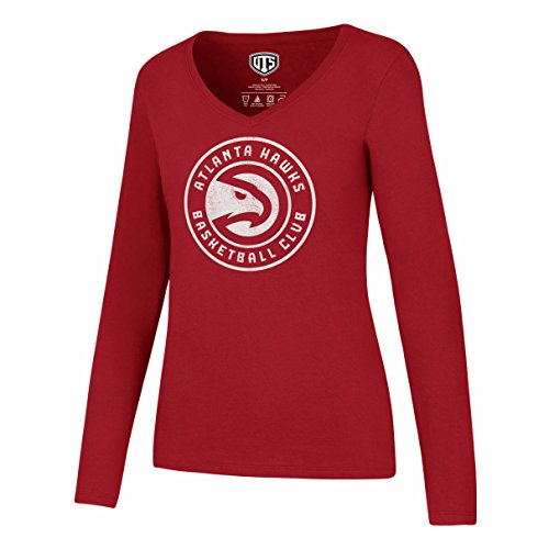 fan products of NBA Atlanta Hawks Women's OTS Rival Long Sleeve Distressed Tee, Red, Large