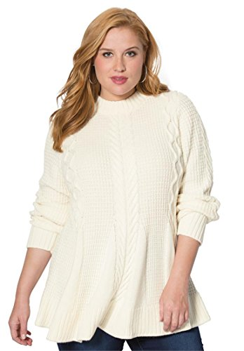 Women's Plus Size Fit & Flare Sweater – 1X, Ivory