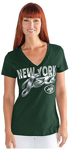 NFL New York Jets Women's 1St Down V-Neck Tee, Small, Green