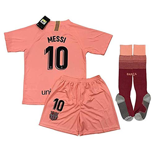 Speed Johng Messi #10 FC Barcelona 2018-2019 Kids/Youths Champions League 3rd Soccer Jersey & Shorts & Socks Size(10-11years) - Fc League Champions Barcelona