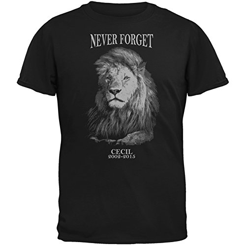 Cecil The Lion Never Forget Black Adult T-Shirt - 2X-Large