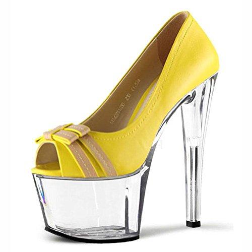 L Yellow Fish Women Bow Mouth Heels With 17cm Dance Toe YC Peep Crystal Fine High 66Hq5PrnOW