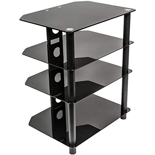 NavePoint Media Stand Glass 4 Shelf Audio Video Component Storage - Stand Audio Glass