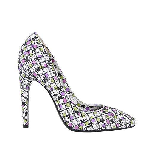 Bottega Veneta Women's Green/Purple Floral Leather Heels 430540 8404 (38.5 EU / 8.5 US)