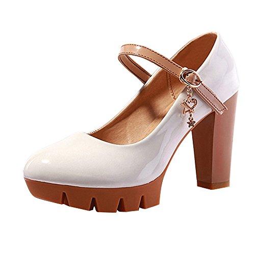 OCHENTA Yardas grandes de la boca baja de fondo grueso zapatos de charol para mujer Blanco