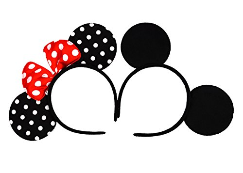Plush Mouse Child Costumes Kit - Mickey Mouse Ears Solid Black and Bow Minnie Headband for Boys and Girls Birthday Party or Celebrations Set of 2