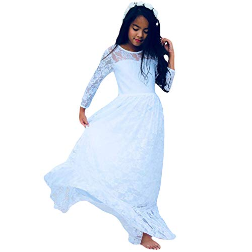 CQDY Lace Flower Girl Dress Long Sleeves Princess Communion Dresses White