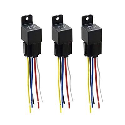 uxcell DC 36V 40A SPDT Automotive Car Relay 5 Pin 5 Wires w/Harness Socket Plug 3pcs: Automotive