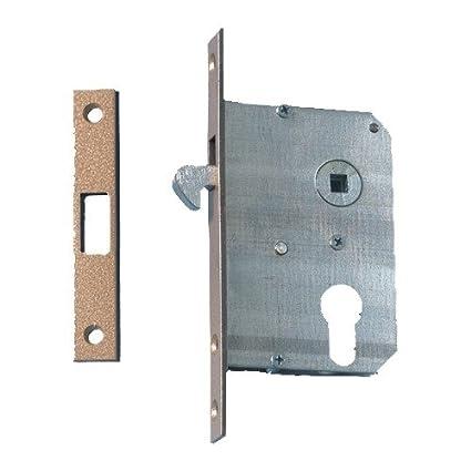 Cerradura de puerta corredera, (de chapa de acero galvanizado, con cierre)