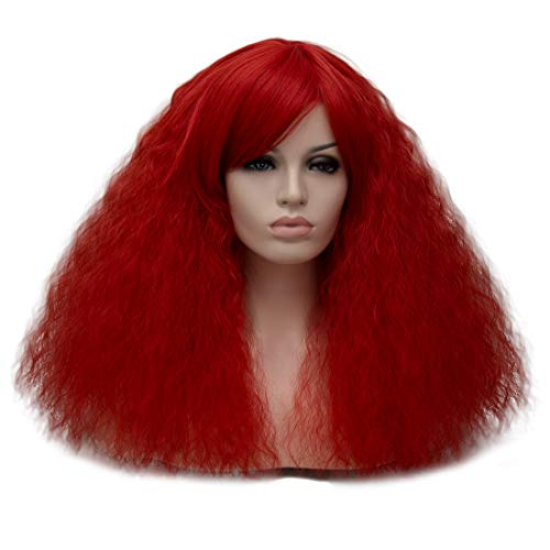 ELIM Fluffy Short Curly Wigs Red Cosplay Wig Halloween Costume Wigs Synthetic Hair Oblique Bangs for Women with Wig Cap -