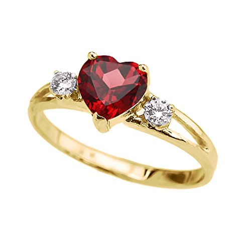 Precious 14k Yellow Gold July Birthstone Heart Proposal/Promise Ring with White Topaz (Size 8)