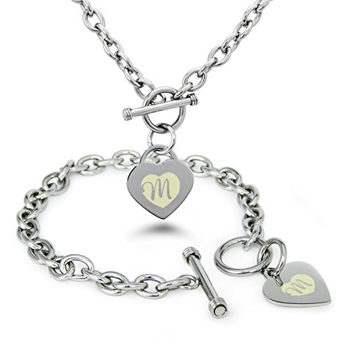 Stainless Steel Alphabet Letter M Initial Engraved Heart Charm, Bracelet and Necklace - Name Co And Color Tiffany