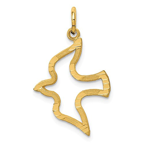 14K Yellow Gold Satin Flying Open Dove Charm 25x15mm ()