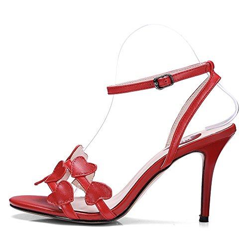 Nine Seven Cuero Moda Puntera Abierta Sandalias de Tacón Aguja de Vestir con Correa de Tobillo para Mujer Rojo