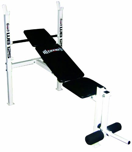 Body Champ WB125 Beginner and Light Lifting Standard Weight Bench with Leg Lift Curl Developer Extension Attachment (with UPDATED, BETTER packaging) by Body Champ