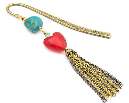 Blue carved skull and heart chain tassel brass metal unique bookmark 4.5 in - Hearts Beaded Socks