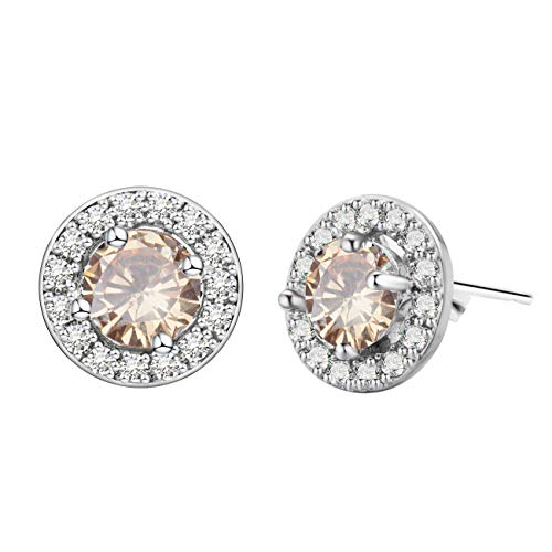 Anni Coco Round Cut Cubic Zirconia CZ 18K White Gold Plated Lady Girl Women Stud Earrings(Champagne)
