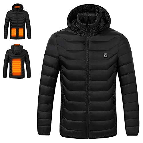 Venustas Soft Heated Jacket Lightweight and Water Resistant(Unisex Style, Power Bank not Included) Black
