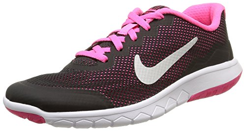 NIKE Girl's Flex Experience Running Shoe Black Metallic Silver Pink Pow