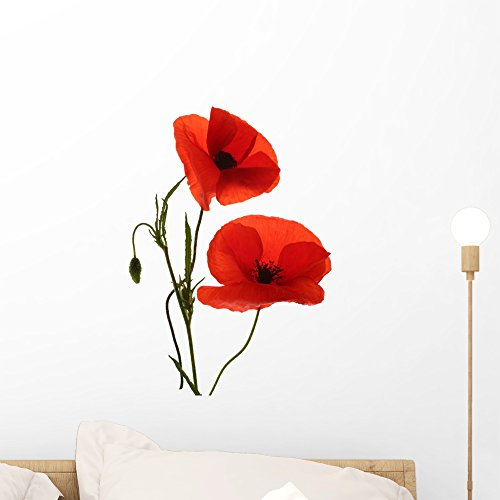 Wallmonkeys Red Poppy Flowers Wall Decal Peel and Stick Graphic (18 in H x 12 in W) WM71737